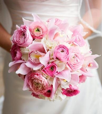 gelin buketi pembe orkide ve güller