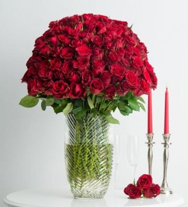 100 adet kırmızı gul vazosu VIP