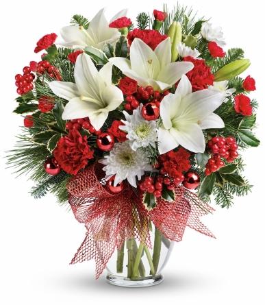 lilyum ve guller yılbaşı çiçeği