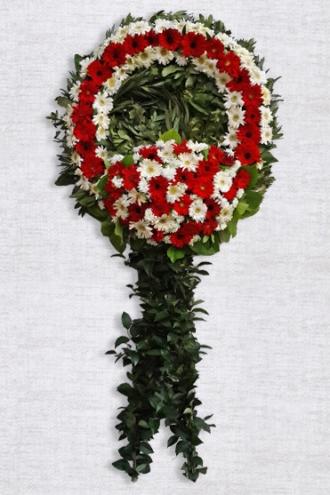 Kırmızı ve Beyaz Çiçeklerden Oluşan Cenaze Çelengi