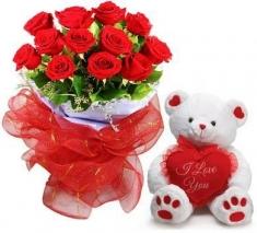 büyük ayıcık ve kırmızı güller