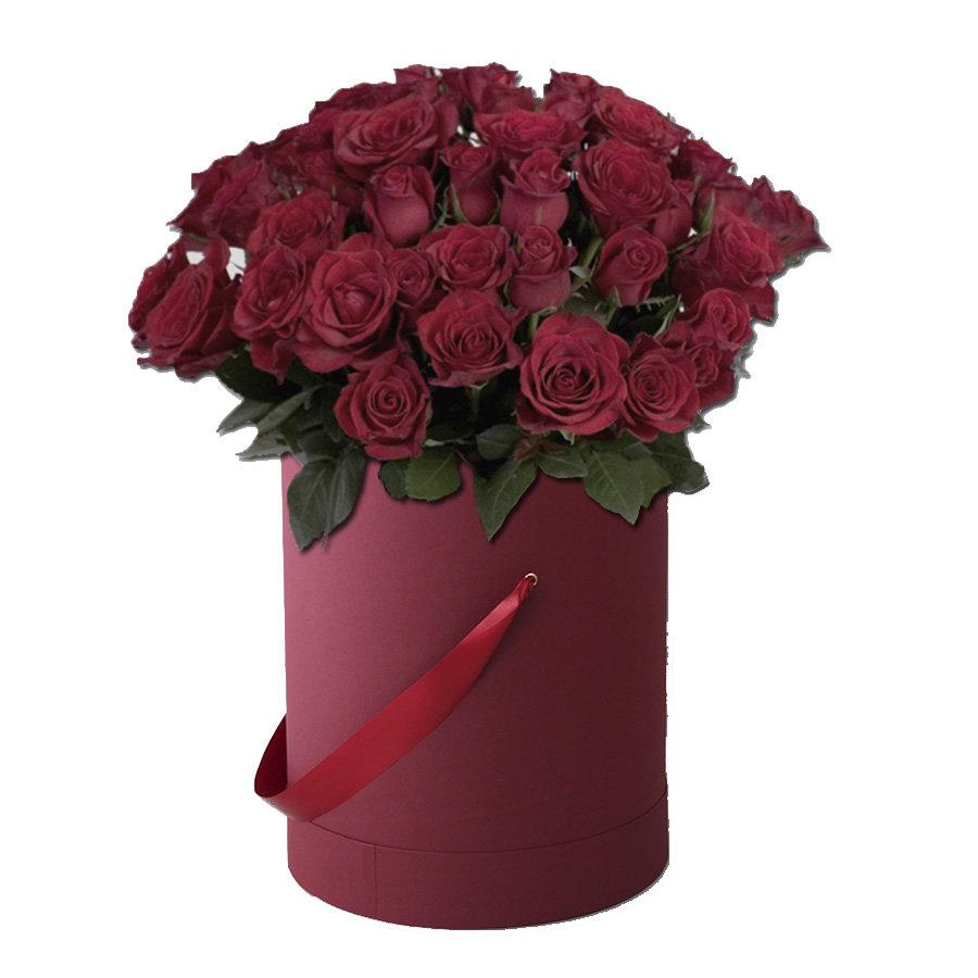 bordo kutuda kırmızı ithal güller